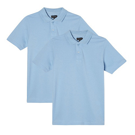 Debenhams - Pack of two boy+s blue pure cotton school polo shirts