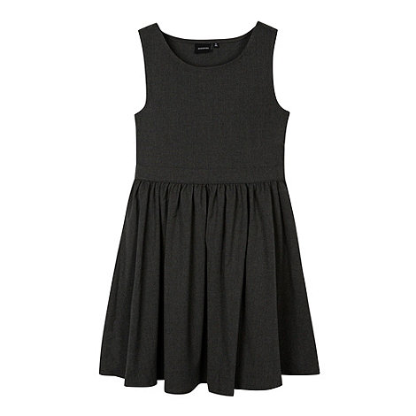 Debenhams - Girl+s grey school skater skirt pinafore