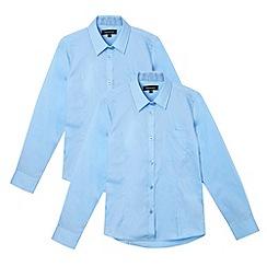 Debenhams - Pack of two girl's blue long sleeved school blouses