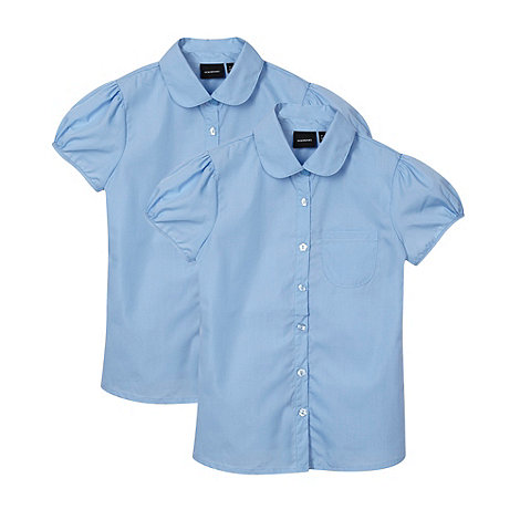 Debenhams - Pack of two girl+s blue school blouses