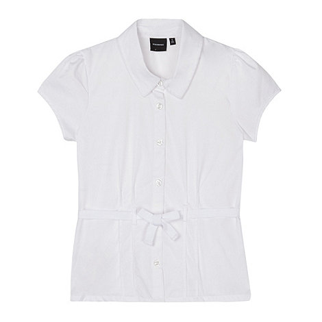 Debenhams - Girl+s white belted school blouse