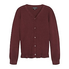Debenhams - Girl's wine peplum school cardigan