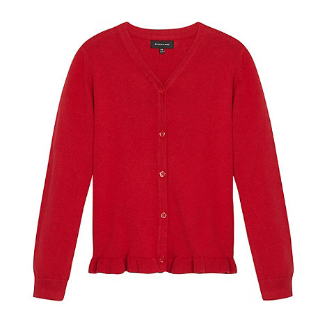 Debenhams - Girl+s red peplum school cardigan