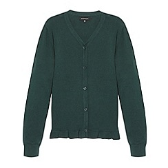 Debenhams - Girl's dark green peplum school cardigan