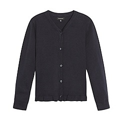 Debenhams - Girl's navy peplum school cardigan