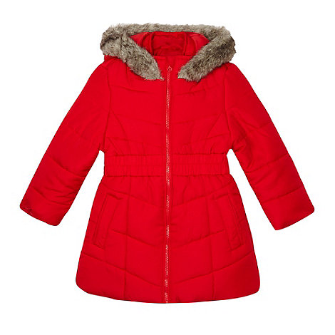 Debenhams - Girl+s red long padded school jacket