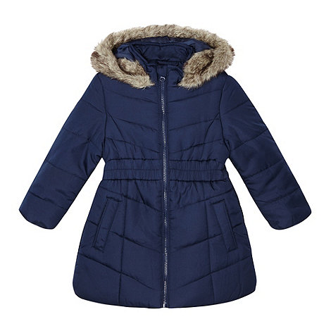 Debenhams - Girl's navy long padded school jacket