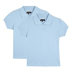 Debenhams - Two pack of girl's blue school polo shirts