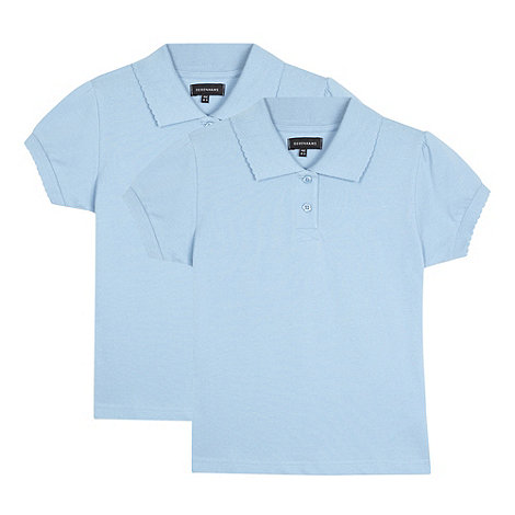 Debenhams - Two pack of girl+s blue school polo shirts