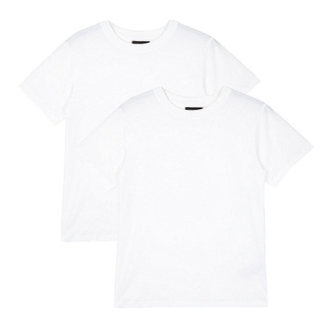 Debenhams - Pack of two children+s white short sleeved school t-shirts