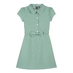 Debenhams - Girl's green tie front gingham school dress