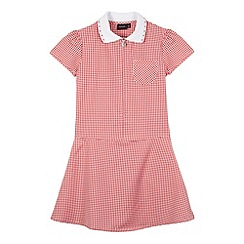 Debenhams - Girl's red ribbed collar gingham school dress