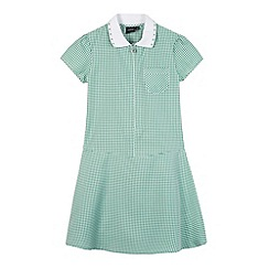 Debenhams - Girl's green ribbed collar gingham school dress