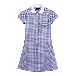 Debenhams - Girl's navy ribbed collar gingham school dress