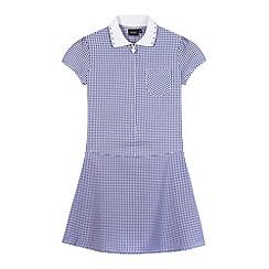 Debenhams - Girl's navy ribbed collar gingham school dress