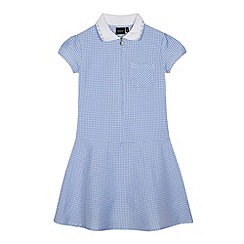 Debenhams - Girl's light blue ribbed collar gingham school dress