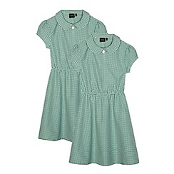 Debenhams - Pack of two girl's green gingham school dresses