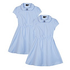 Debenhams - Pack of two girl's light blue gingham school dresses