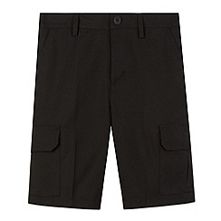 Debenhams - Boy's black school cargo shorts