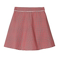 Debenhams - Pack of two girl's red gingham school skirts