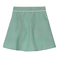 Debenhams - Pack of two girl's green gingham school skirts