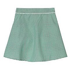 Debenhams - Pack of two girl's green gingham school skirts