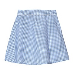 Debenhams - Pack of two girl's light blue gingham school skirts