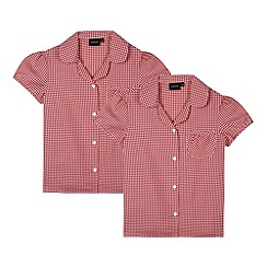 Debenhams - Pack of two girl's red gingham school blousons