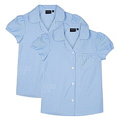 Debenhams - Set of two girl's light blue gingham checked school blouses