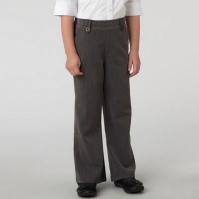 Girls Grey Bootleg School Trousers