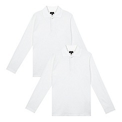 Debenhams - Pack of two boy's white long sleeved school polo shirts