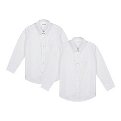 Debenhams - Pack of two boy's white slim fit school shirts