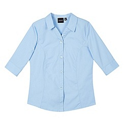 Debenhams - Girl's blue three quarter sleeved blouse