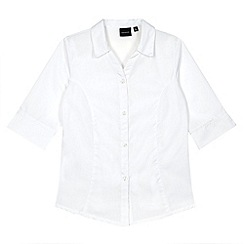 Debenhams - Girl's white three quarter sleeved school blouse