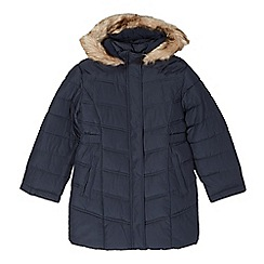 Debenhams - Girl's navy long padded school coat