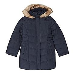 Debenhams - Girl's navy long padded school coat