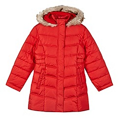 Debenhams - Girl's red long padded school coat
