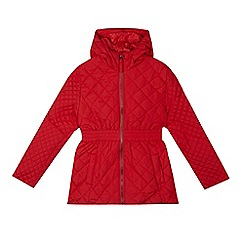 Debenhams - Girl's red quilted school coat
