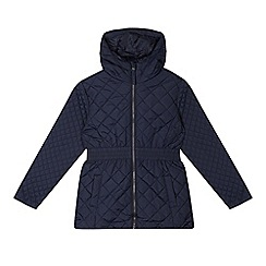 Debenhams - Girl's navy quilted school coat
