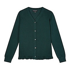 Debenhams - Girl's green peplum school cardigan