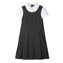 Debenhams - Girl's grey pinafore and white blouse school set
