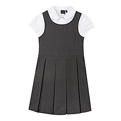 Debenhams - Girl's grey pinafore school set