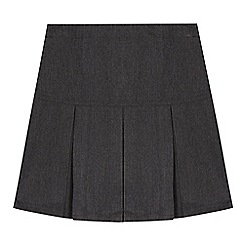 Debenhams - Girl's grey half pleat school skirt