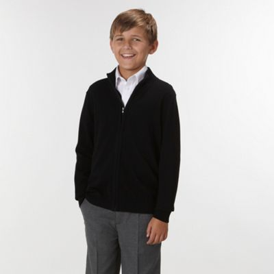 Boys Black Knitted School Cardigan