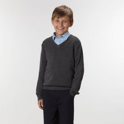 Boys Grey Wool Rich School Jumper