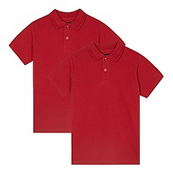 Debenhams - Pack of two children's red cotton polo shirts