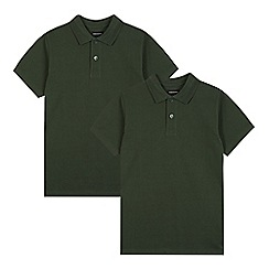 Debenhams - Pack of two children's green cotton polo shirts