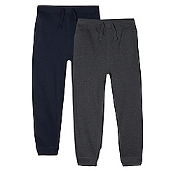 Debenhams - Pack of two children's grey and navy jogging bottoms