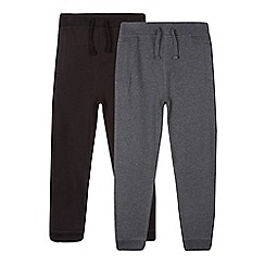 Debenhams - Pack of two boy's grey and black jogging bottoms