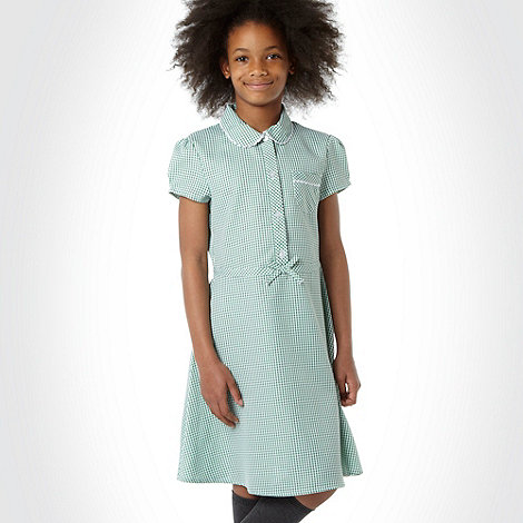Debenhams - Girl+s green gingham checked school uniform dress